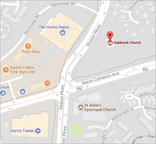 Map showing location of Oakbrook Church